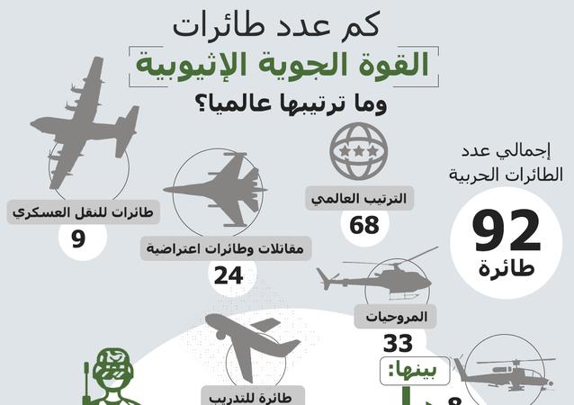 عدد طائرات القوة الجوية الإثيوبية