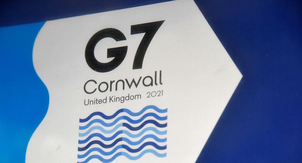 شعار الدول السبع الكبري المقرر عقده في بريطانيا في كورنوبال 11 يونيو/ حزيران 2021