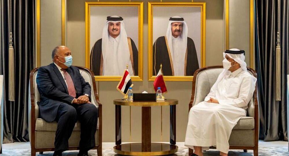 وزير الخارجية المصري، سامح شكري في اجتماع مع وزير الخارجية القطري، الشيخ محمد بن عبد الرحمن آل ثاني، في العاصمة القطرية الدوحة