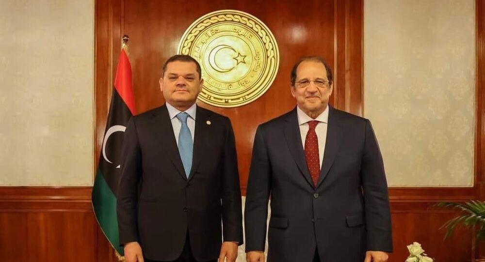 عبد الحميد الدبيبة يستقبل  اللواء عباس كامل في طرابلس