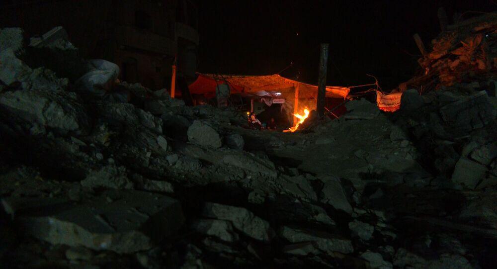 خيمة تؤوي عائلة فلسطينية في قطاع غزة