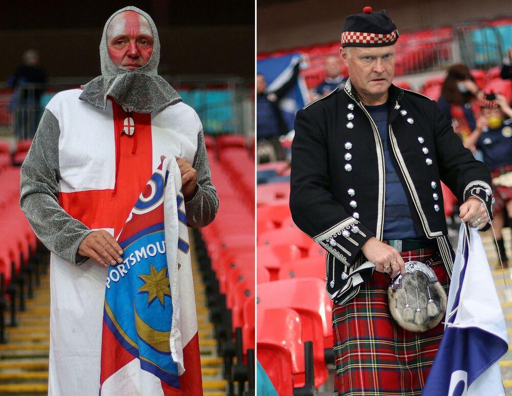 تُظهر هذه الصورة مشجعًا لإنجلترا (يسارًا) ومشجعًا من اسكتلندا (يمين) قد وصلوا قبل مباراة كرة القدم في المجموعة الرابعة يورو 2020 بين إنجلترا واسكتلندا في ملعب ويمبلي بلندن، 18 يونيو 2021