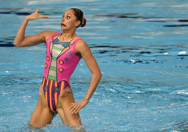 عضوة من منتخب المكسيك للسياحة الإيقاعية خلال أدائها فقرة فنية في نهلئيات دورة الألعاب الأمريكية 2015 التي أقيمت في تورونتو، كندا 11 يوليو 2015