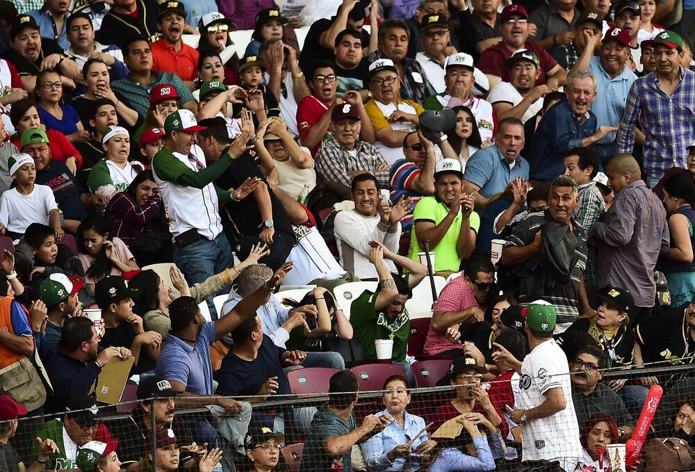 يحاول الجمهور تجنب مضرب بيسبول بعد أن ألقاه أحد اللاعبين عن طريق الخطأ خلال مباراة سلسلة البيسبول الكاريبي بين فريقي أغيلاس دي مكسيكالي من المكسيك وألازانيس دي غرانما من كوبا في ملعب توماتيروس في كولياكان، ولاية سينالوا، المكسيك، في 5 فبراير 2017
