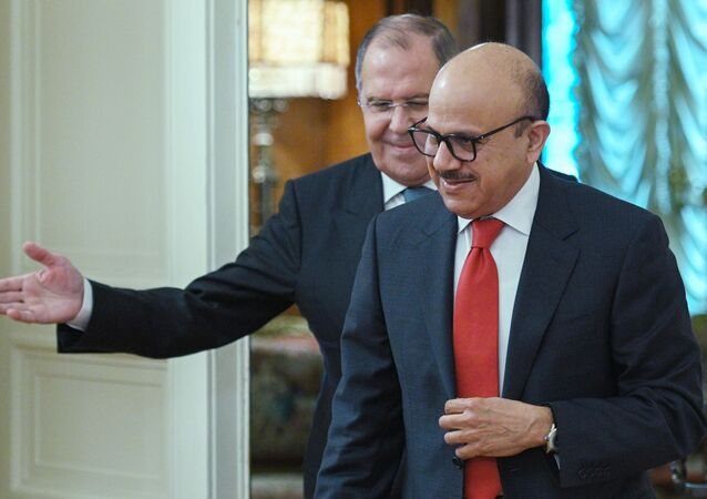 لقاء بين وزير الخارجية الروسي سيرغي لافروف ونظيره البحريني عبد اللطيف بن راشد الزياني في موسكو