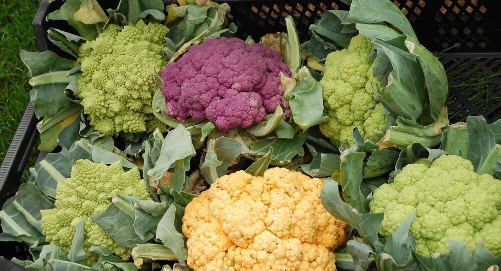 أزهار قرنبيط (الزهرة) من أنواع مختلفة منها القرنبيط المتماثل