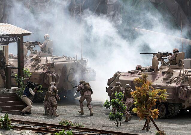 مدرعات ودبابات تابعة للجيش الإماراتي خلال عرض عسكري