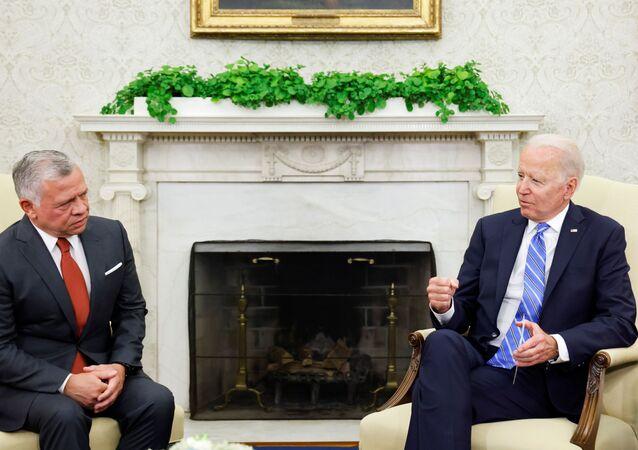 لقاء الرئيس الأمريكي جو بايدن وملك الأردن عبد الله الثاني في البيت الأبيض 19 يوليو 2021