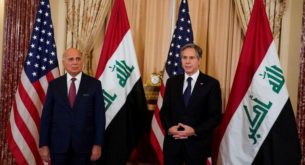 وزير الخارجية الأمريكي أنتوني بلينكين يلتقي نظيره العراقي فؤاد حسين