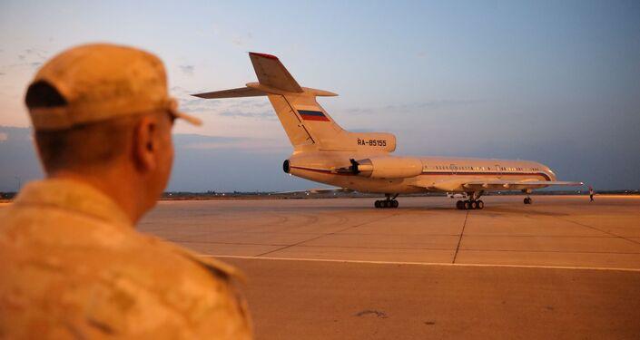 وصول الطائرة الروسية إلى مطار دمشق الدولي محملة بالمساعدات الطبية 24 يوليو/ تموز 2021
