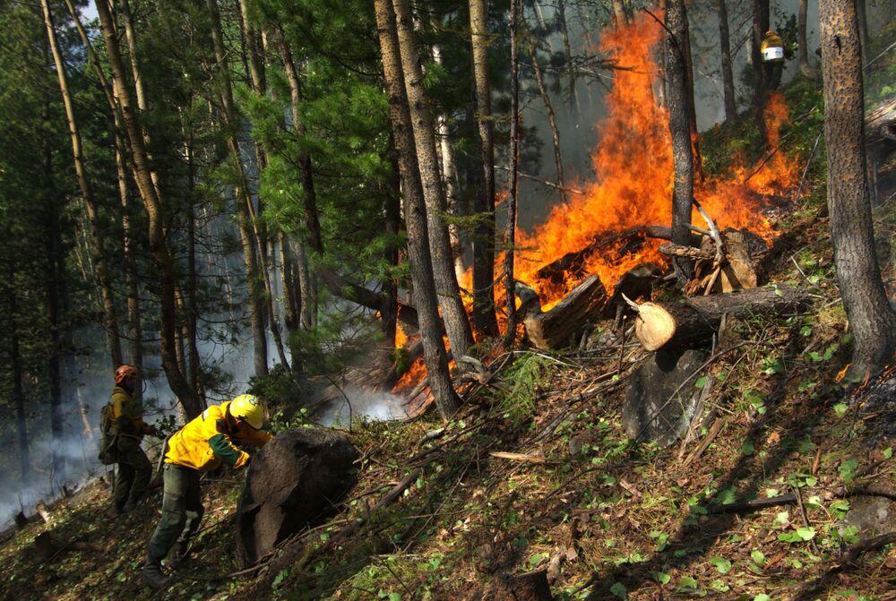 يقوم موظفو أفيا ليسو أوخرانا  لحراسة الغابات بمكافحة الحرائق لمنع انتشارها على نطاق أوسع في ياقوتيا، روسيا 12 يوليو 2021