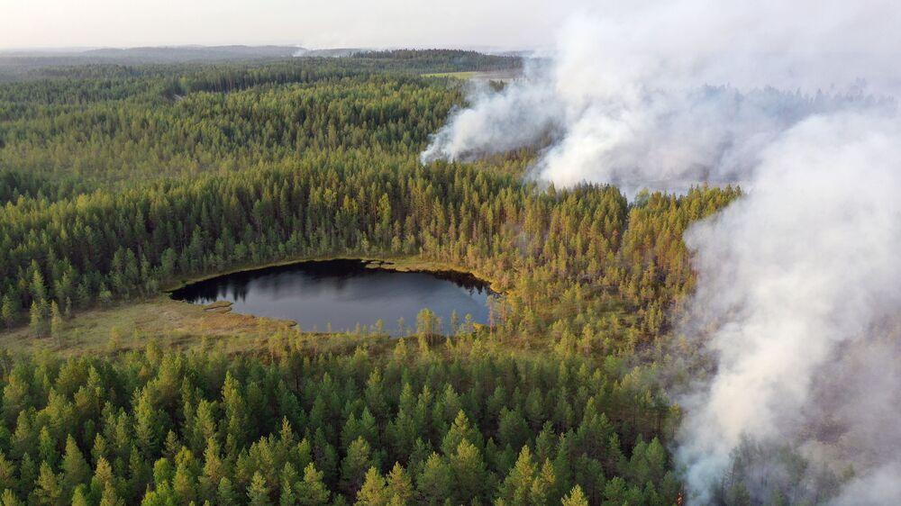 حرائق الغابات في حي سياموزيرا في كاريليا، روسيا 19 يوليو 2021