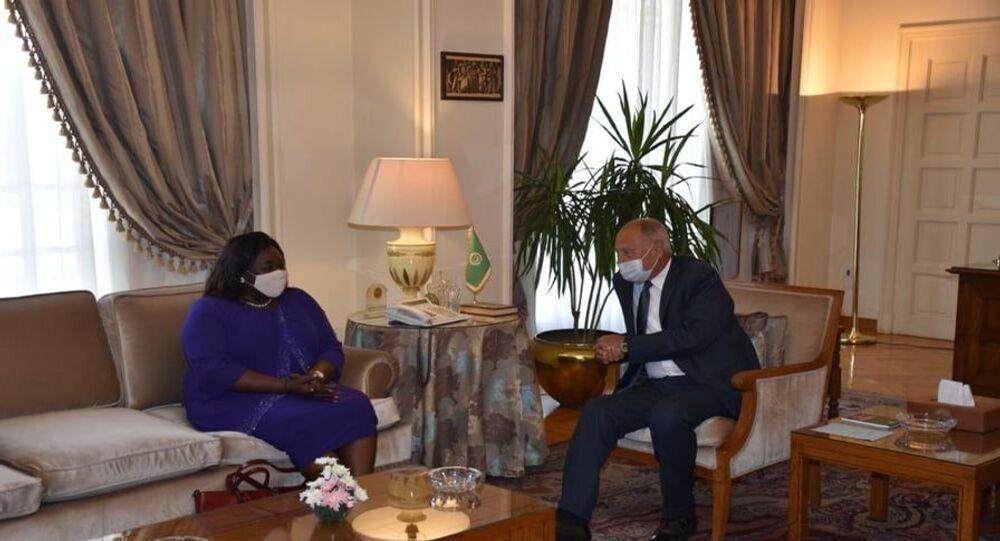 أحمد أبو الغيط الأمين العام للجامعة العربية يستقبل وزيرة خارجية جنوب السودان بياتريس خميسة