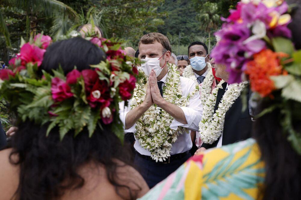 زيارة الرئيس الفرنسي إيمانويل ماكرون إلى أتونا في هيفا أوا، ثاني أكبر جزيرة في جزر ماركيساس، بولينيزيا الفرنسية في 27 يوليو 2021