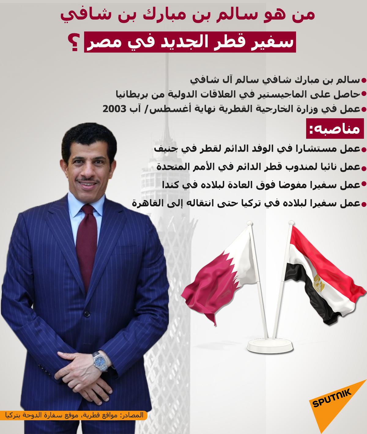 من هو سالم بن مبارك بن شافي.. سفير قطر الجديد في مصر؟