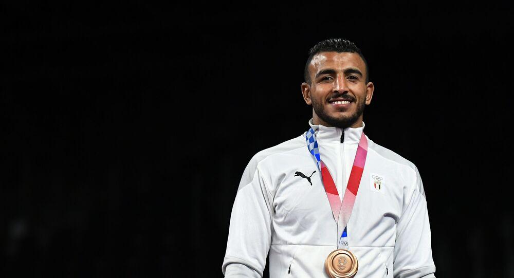 محمد إبراهيم كيشو لاعب منتخب مصر للمصارعة الرومانية يتوج بالميدالية البرونزية في دورة الألعاب الأولمبية طوكيو 2020