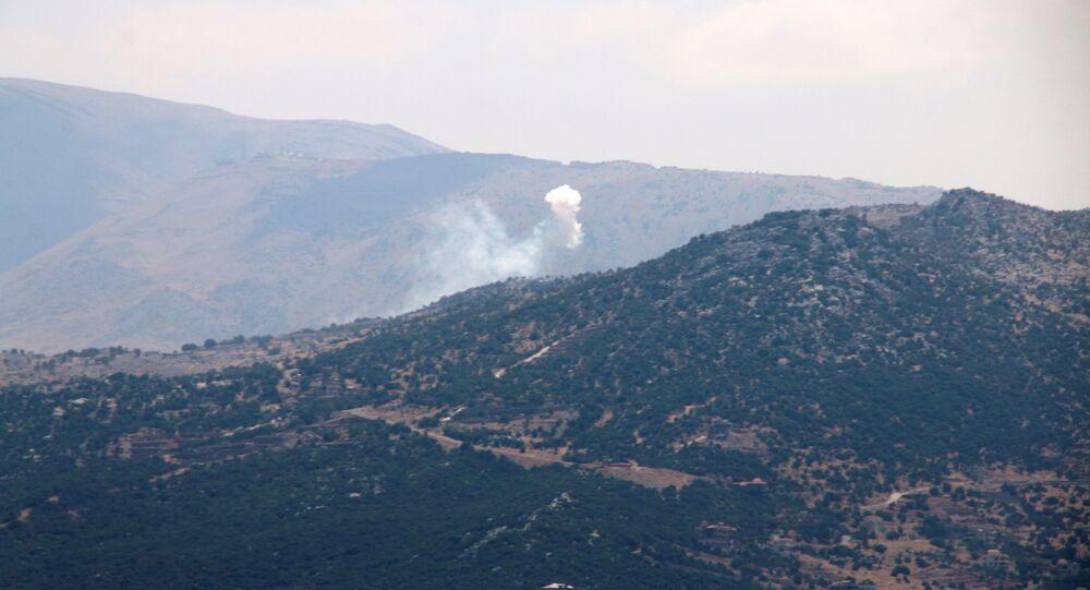 موقع قصف سلاح الجو الإسرائيلي في إبل السقي، على الحدود اللبنانية مع إسرائيل،  جنوب لبنان 6 أغسطس 2021