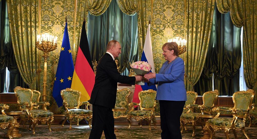 لقاء الرئيس الروسي فلاديمير بوتين مع المستشارة الألمانية أنجيلا ميركل في الكرملين، موسكو