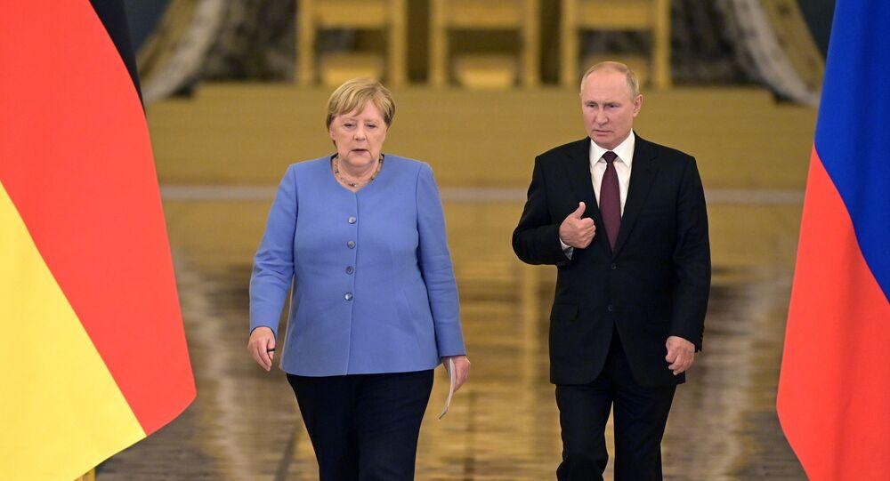 لقاء الرئيس الروسي فلاديمير بوتين مع المستشارة الألمانية أنجيلا ميركل في موسكو