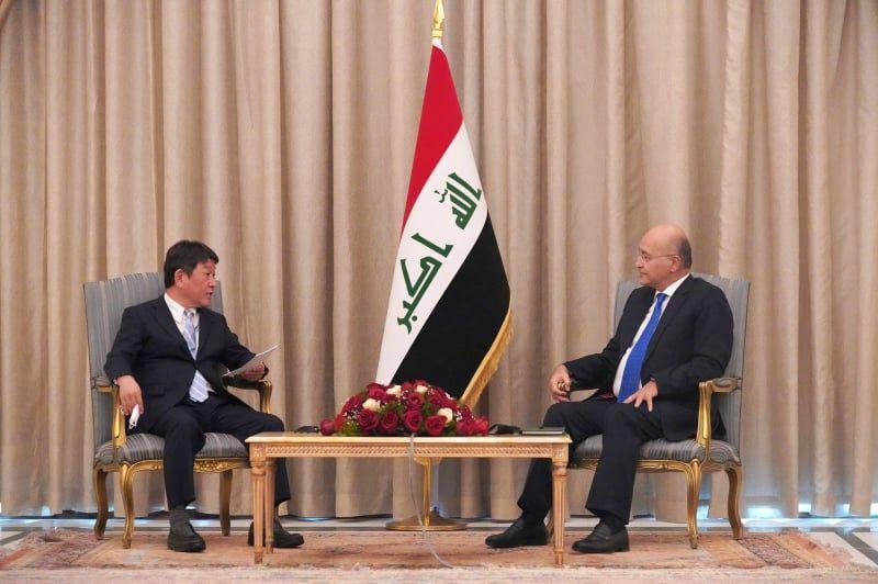 الرئيس العراقي برهم صالح يستقبل وزير الخارجية الياباني توشيميتسو موتيجي