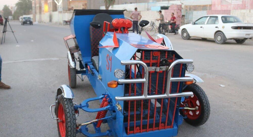 شاب يبتكر سيارة فريدة من نوعها في العراق