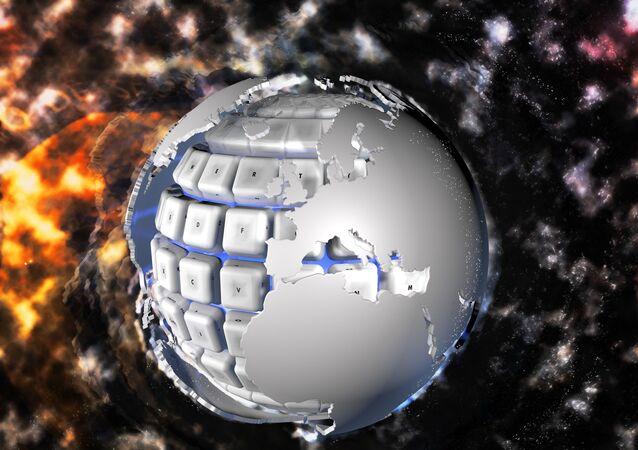 شكل رقمي لكوكب الأرض مع لوحة مفاتيح