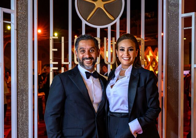 الفنانة التونسية هند صبري مع زوجها أحمد الشريف