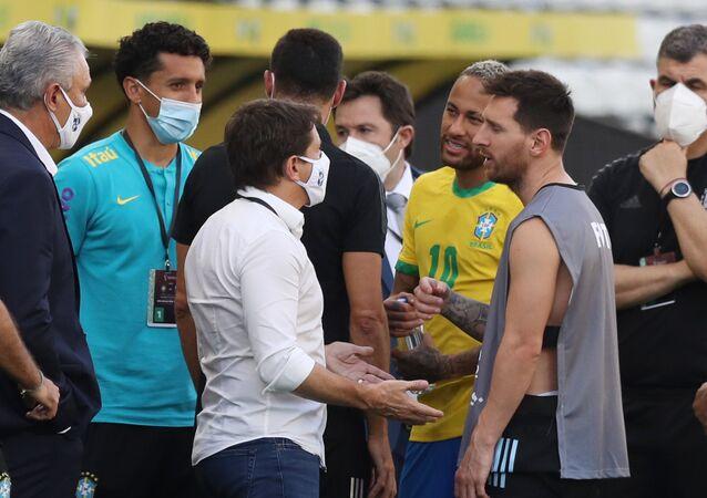 ميسي في مباراة البرازيل والأرجنتين