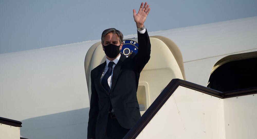 وزير الخارجية الأمريكي أنتوني بلينكن يغادر الدوحة متوجها إلى أفغانستان، قطر 8 سبتمبر 2021