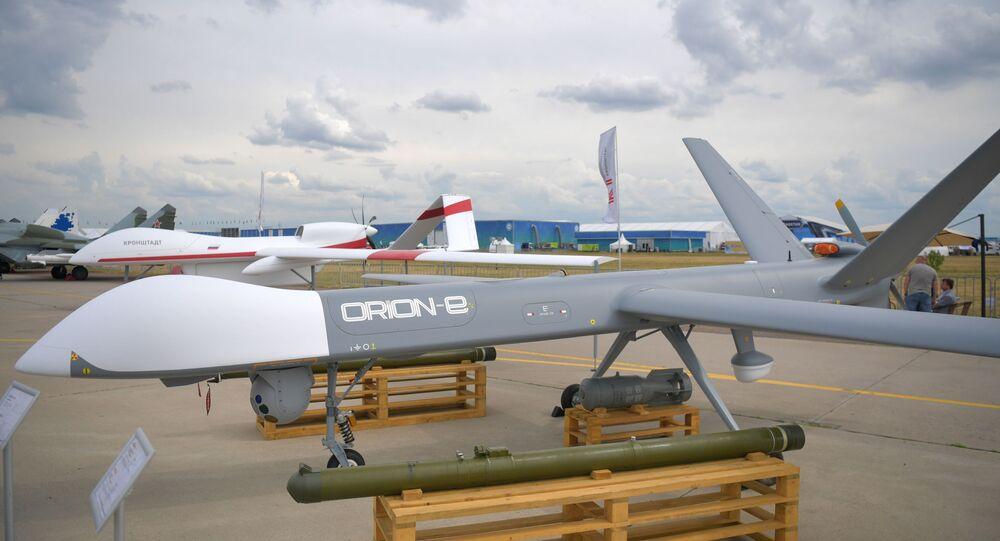 طائرات أوريون المسيرة الهجومية الروسية ضمن فعاليات معرض ماكس الجوي 2021