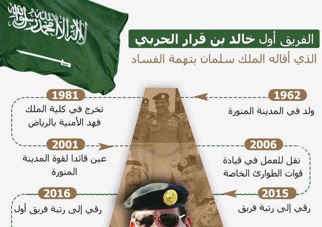 الفريق أول خالد بن قرار الحربي الذي أقاله الملك سلمان بتهمة الفساد