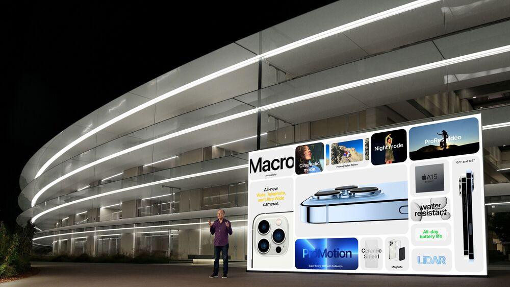 نائب المدير العام لشركة آبل غريغ جوسياك يقدم الخصائص الفنية المطورة لهواتف أيفون 13 برو وأيفون 13 برو ماكس في أبل بارك في كوبيرتينو، كاليفورنيا، 14 سبتمبر 2021
