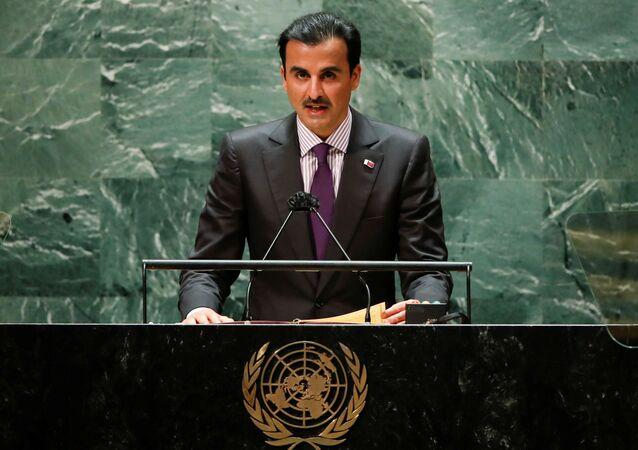أمير قطر، الشيخ تميم بن حمد آل ثاني، خلال كلمته أمام الدورة الـ76 للجمعية العامة للأمم المتحدة، 21 سبتمبر/ أيلول 2021، نيويورك، الولايات المتحدة