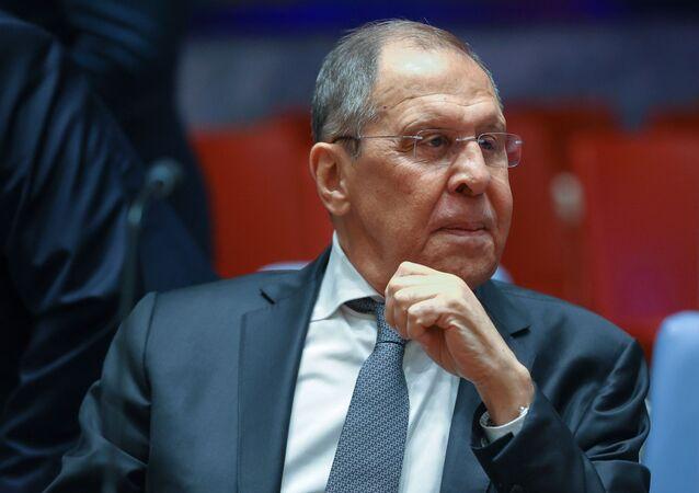 وزير الخارجية الروسي سيرغي لافروف، الأمم المتحدة، نيويورك، الولايات المتحدة الأمريكية 22 سبتمبر 2021