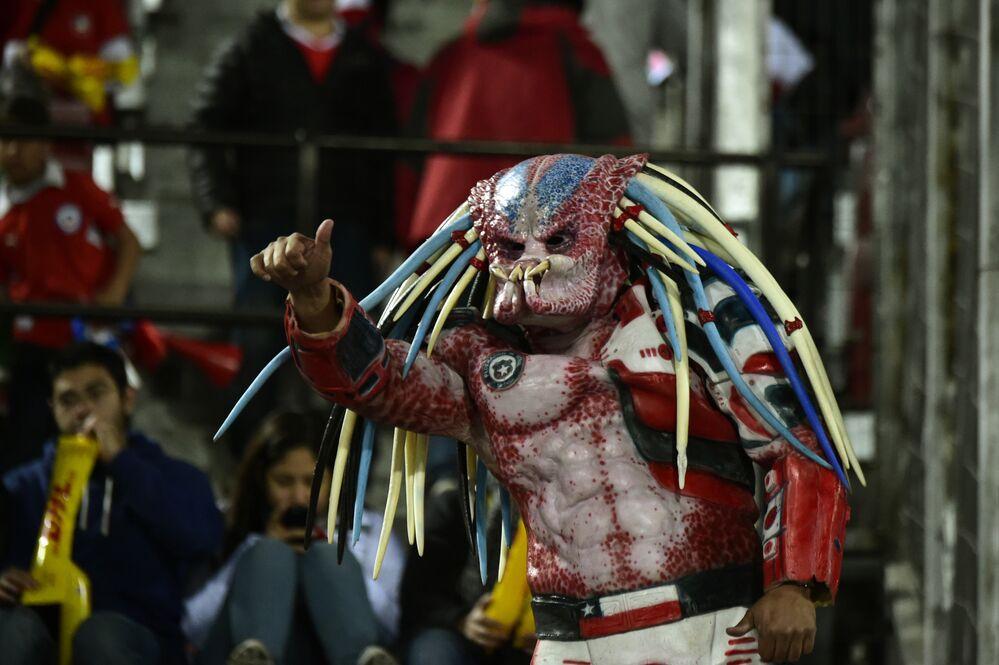 مشجع من شيلي خلال حفل الافتتاح لكوبا أمريكا في الملعب الوطني في سانتياغو، 11 يونيو 2015