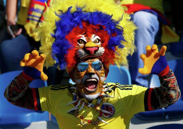 مشجع من كولومبيا  داخل مدرجات ستاد  إيل تنينتي، شيلي،  قبل مباراة فريقه ضد فنزويلا ، 14 يونيو  في الجولة الأولى لكوبا أمريكا 2015