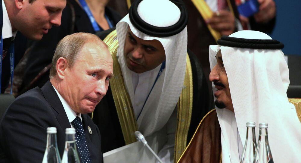 الرئيس الروسي فلاديمير بوتين مع العاهل السعودي  الملك سلمان بن عبد العزيز