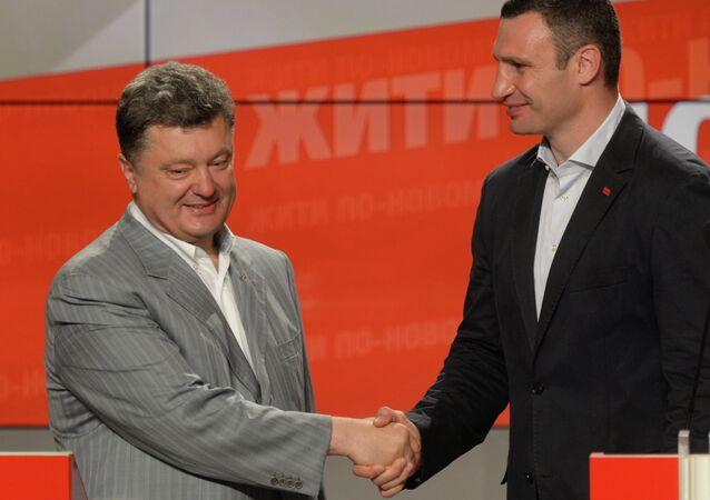 الرئيس الأوكراني بيوتر بوروشينكو وعمدة كييف فيتالي كليتشكو