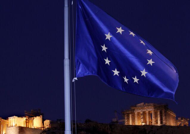 علم الاتحاد الأوروبي في أثينا