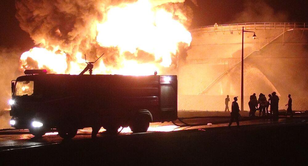 حريق في أحد معامل تكرير النفط