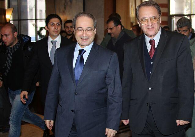 مساعد وزير الخارجية الروسي ميخائيل بوغدانوف مع نظيره السوري فيصل المقداد
