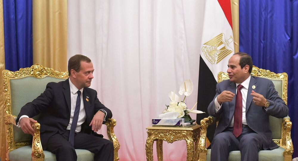 لقاء الرئيس المصي عبد الفتاح السيسي ورئيس الوزراء الروسي دميتري ميدفيديف