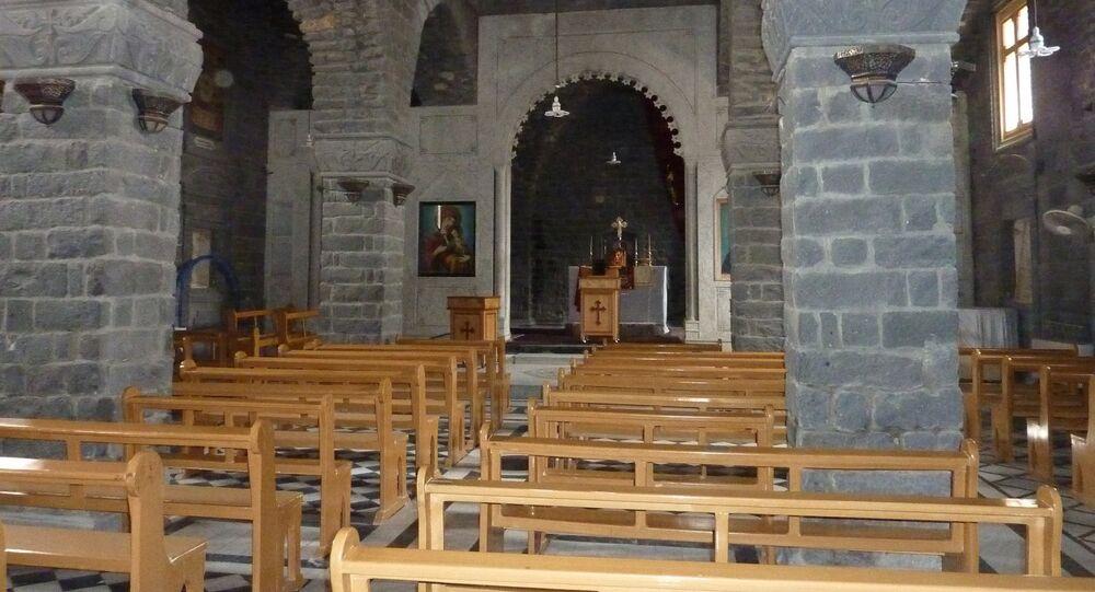 صورة أرشيفية لكنيسة أم الزنار في مدينة حمص السورية