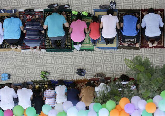 المصريين المسلمين خلال عيد الأضحى في القاهرة
