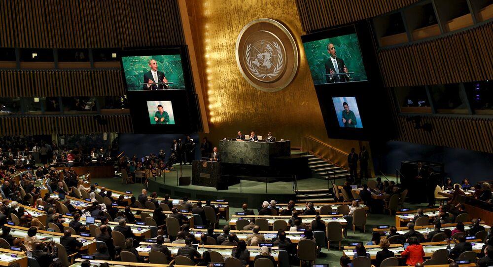 الرئيس الأمريكي باراك أوباما خلال جلسة الجمعية العامة للأمم المتحدة