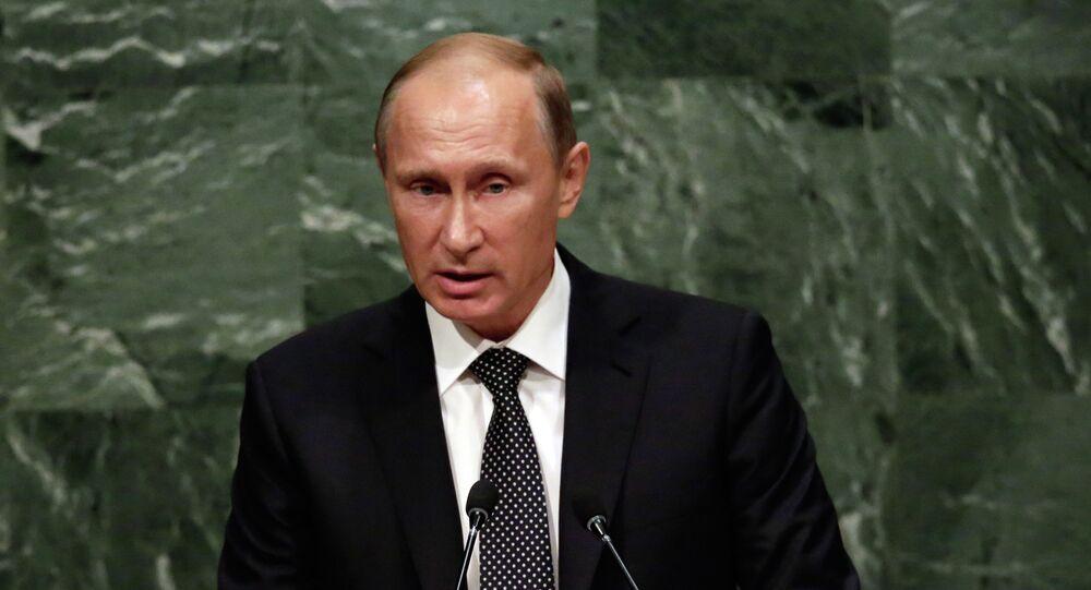 الرئيس الروسي فلاديمير بوتين خلال الجمعية العامة للأمم المتحدة