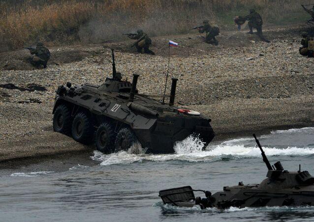تدريبات لواء مشاة البحرية لأسطول المحيط الهادي الروسي في أقليم بريموريا