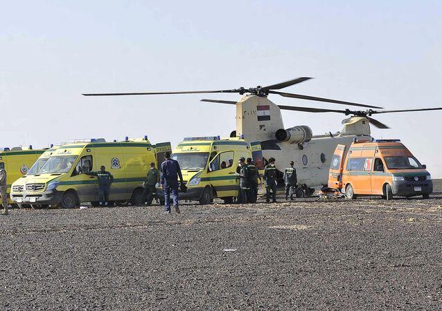 نقل جثامين ضحايا حادث تحطم الطائرة الروسية في سيناء