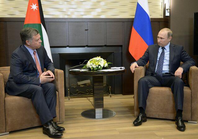 الرئيس فلاديمير بوتين أثناء لقاء العاهل الأردني الملك عبدالله الثاني