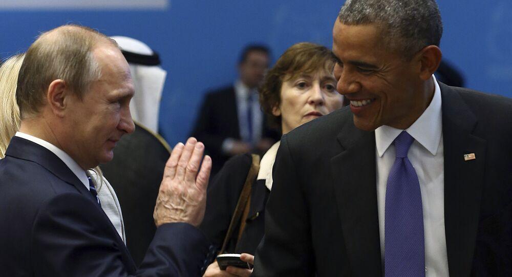 فلاديمير بوتين مع باراك أوباما